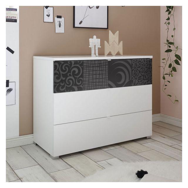 Dansmamaison Commode 3 tiroirs Blanc/Gris Laqué - Fiori - L 104 x l 45 x H 80 cm