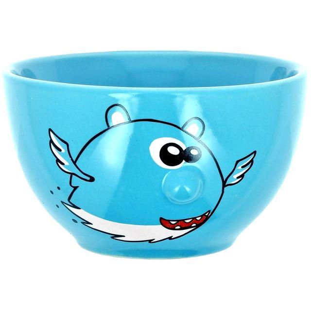 Promobo Bol En Relief A Soupe Et Chocolat Imprimé Fun Petit Monstre Enfants Et Grands Bleu