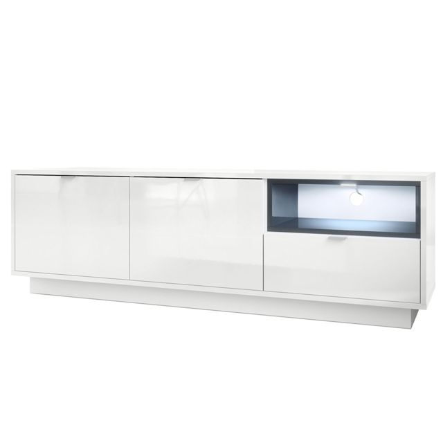 Mpc Meuble tv 153 cm laqu? blanc avec insertion gris