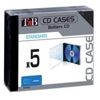 T'NB - Pack de 5 boîtiers simples format standard transparents avec plateau noir pour 1 CD