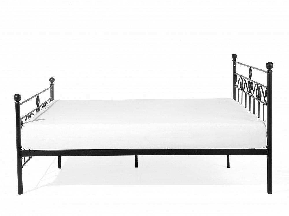 Lit deux places - Lit 160x200 cm - Lit en métal noir - Lepus