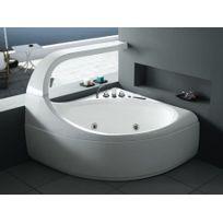 Shower Design - Baignoire balnéo d'angle Ellipse - 2 places - 300L - 147 144 H115cm