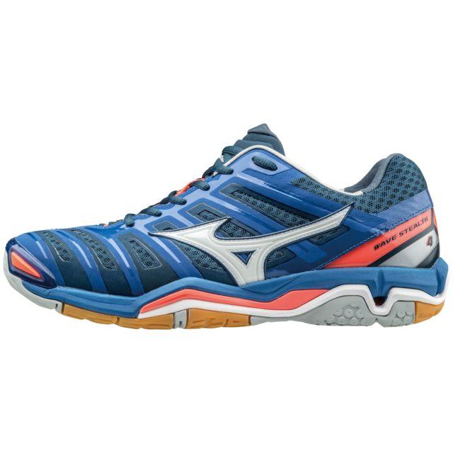 Mizuno Chaussures Wave Stealth 4 bleublancrouge pas