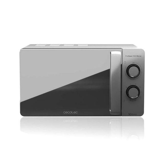 Totalcadeau Micro-ondes avec Grill à plateau tournant 20 L 700W Argenté - Dimensions 44,5 x 35,5 x 25,5 cm