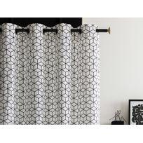 rideaux blanc motif noir achat rideaux blanc motif noir pas cher rue du commerce. Black Bedroom Furniture Sets. Home Design Ideas