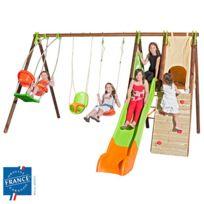 - Portique bois-métal 2,30 m nacelle, cabane, escalade, siège bébé pour 8 enfa
