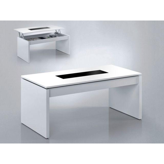 HABITAT ET JARDIN Table basse Kendy - 102 x 50 x 43 cm - Blanc brillant