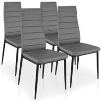 MENZZOPREMIUM - Lot de 4 chaises Stratus Gris