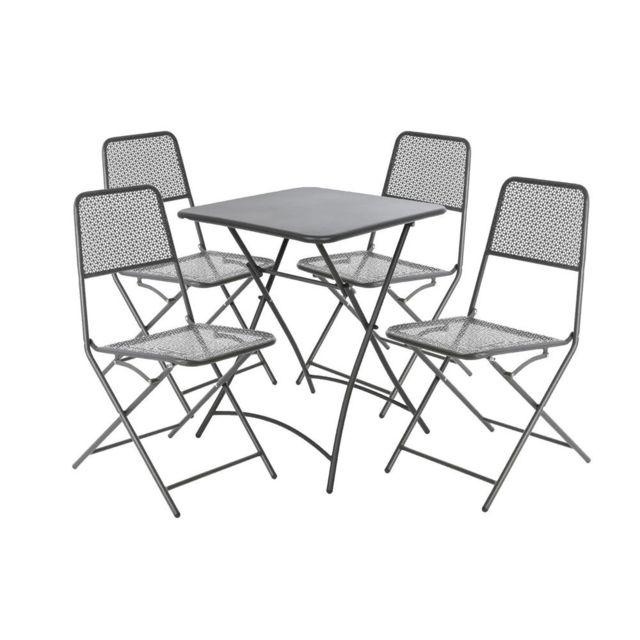 Dlm - Salon de jardin pliable Table L60xH74cm et 4 Chaises ...