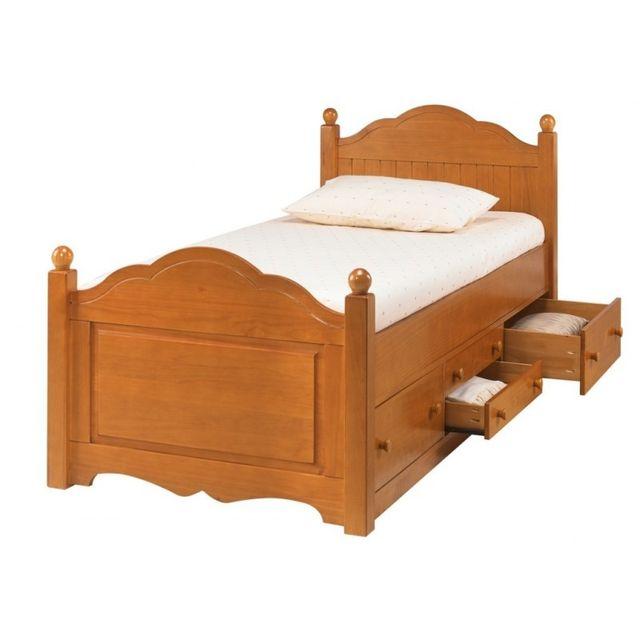 beaux meubles pas chers lit enfant 4 tiroirs pin miel et sommier marron 90cm x 90cm pas cher achat vente lit enfant rueducommerce - Lit Enfant Pas Cher