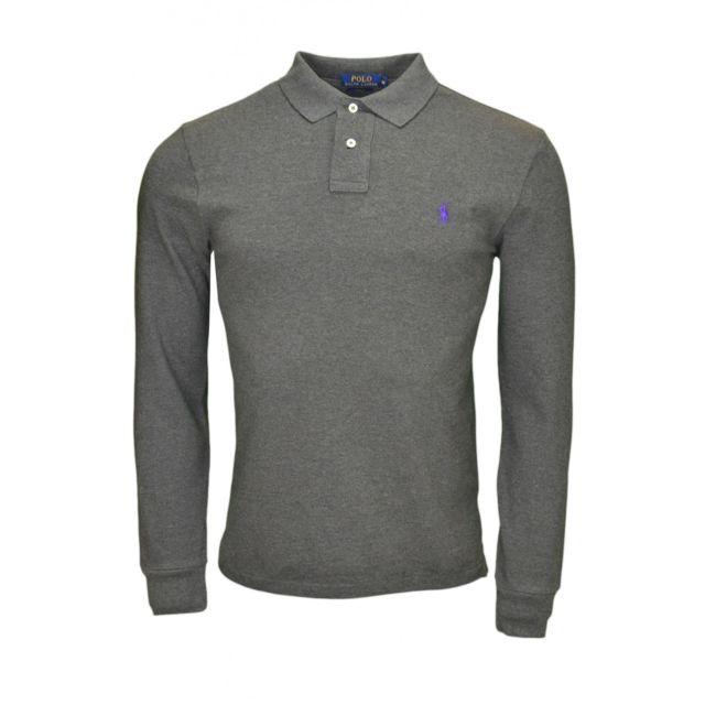 05c04ee704651 Ralph Lauren - Polo 2 boutons manches longues gris pour homme - pas cher  Achat   Vente Polo homme - RueDuCommerce