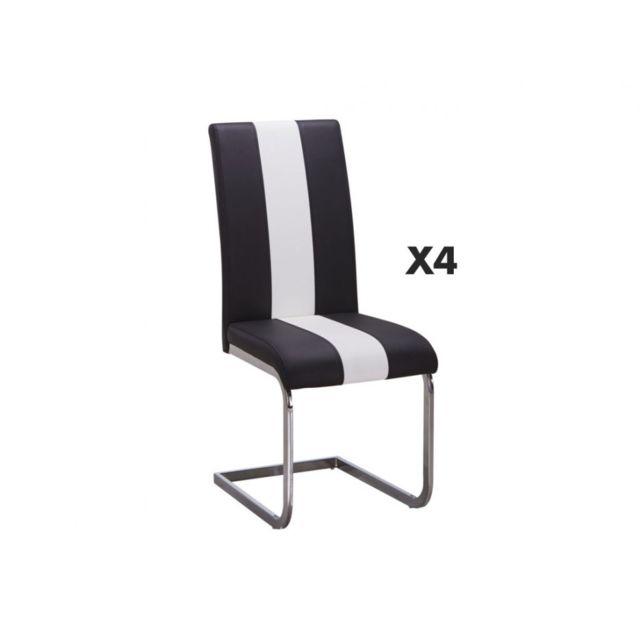 Lot de 4 Chaises en simili TRINITY Simili Noir & blanc