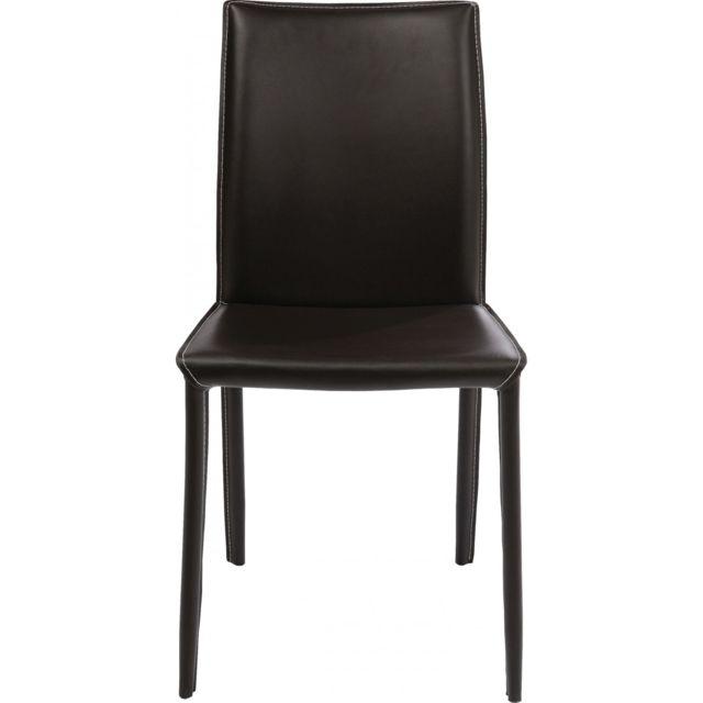 Karedesign Chaise en cuir Milano Marron Kare Design
