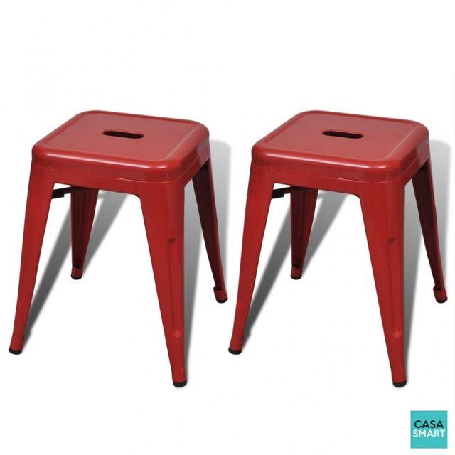 Casasmart 2 tabourets carrés en métal Rouge
