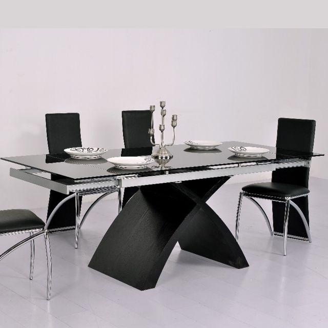 20a95fb1145231 ClearSeat - Table en Verre Noire à rallonge extensible Xures - pas ...