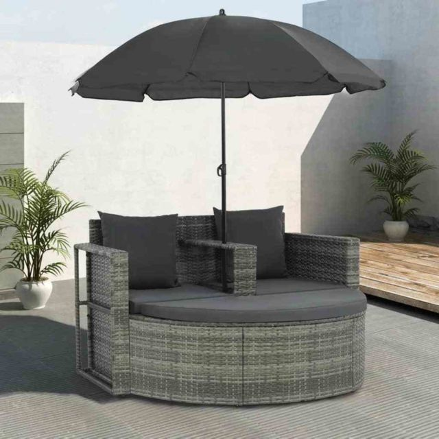 Stylé Sièges d'extérieur ligne Riyad Canapé d'extérieur à 2 places avec parasol Résine tressée Gris
