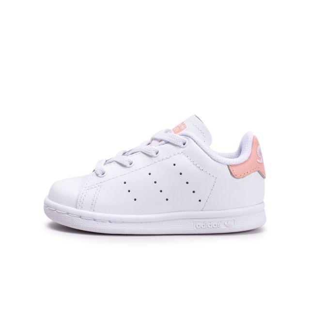 Adidas Stan Smith Blanche Et Rose Bébé pas cher Achat