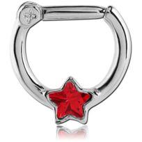 Inoki - Bijou de septum acier clicker Étoile de cristal