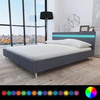Rocambolesk - Superbe Lit avec revêtement en tissu gris foncé et tête de lit Led 200 x 160cm neuf