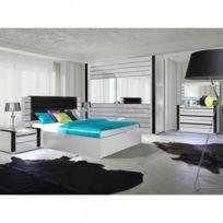 Price Factory   Ensemble Design Pour Chambre à Coucher Lina Blanc. Lit + 2  Chevets
