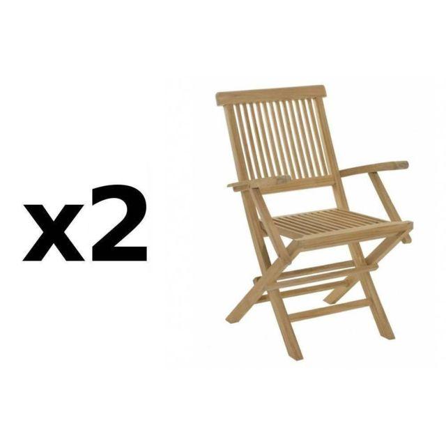 Inside 75 Lot de 2 fauteuils de jardin Java en teck