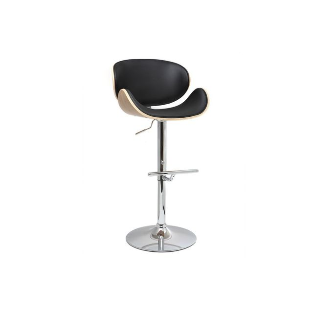 miliboo tabouret de bar design noir et bois clair walnut pas cher achat vente tabourets. Black Bedroom Furniture Sets. Home Design Ideas