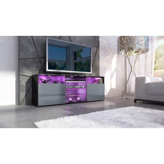 Mpc Meuble design tv noir et gris avec led