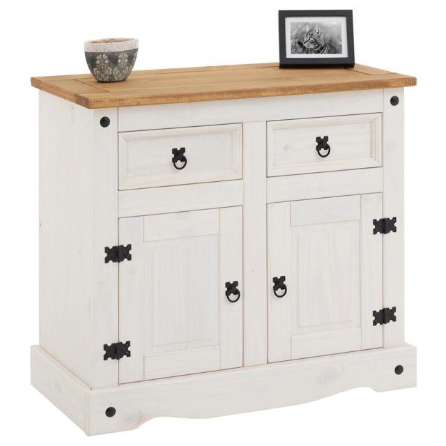 IDIMEX Buffet CAMPO commode bahut vaisselier en bois style mexicain avec 2 portes et 2 tiroirs, en pin massif lasuré blanc et b
