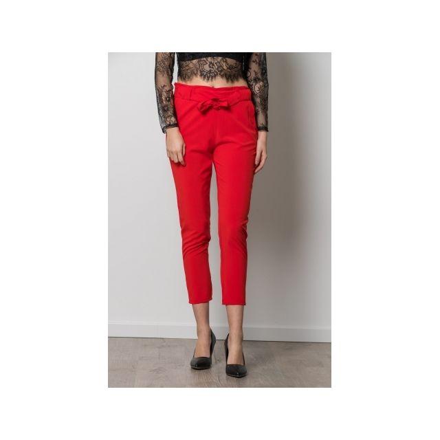 Princesse Boutique - Pantalon Rouge fluide avec ceinture noeud - pas ... fdaff3339da
