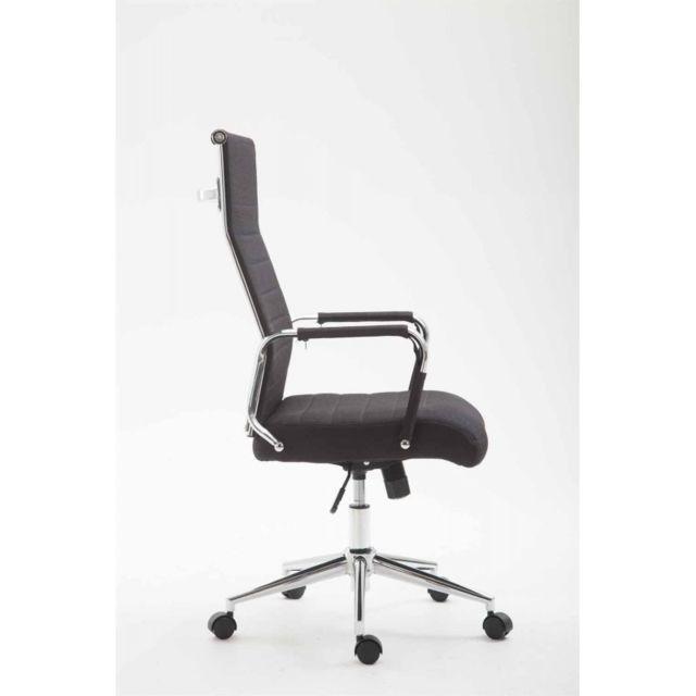 Fauteuil de bureau en tissu noir avec assise rembourrée pivotant Bur10232