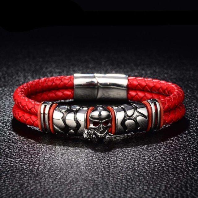 bracelet cuir rouge 18 cm