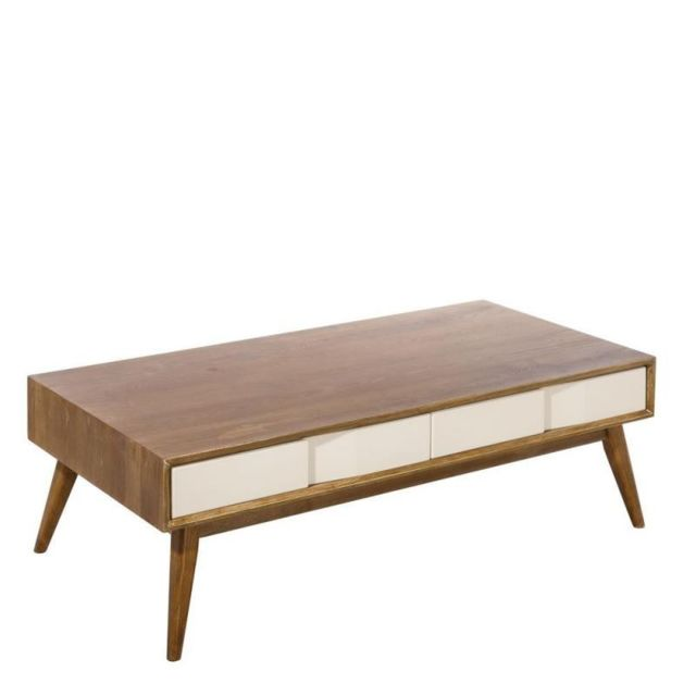 Tousmesmeubles Table basse 4 tiroirs - Nordica
