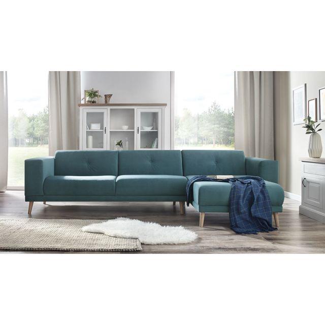 bobochic luna canape d 39 angle droit pouf bleu canard 6 places 95cm x 75cm x 308cm. Black Bedroom Furniture Sets. Home Design Ideas