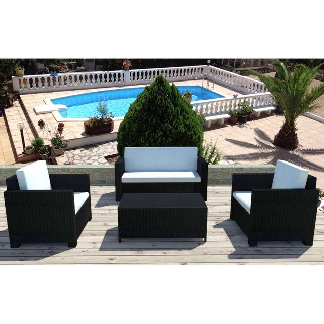 Concept Usine - Bali noir/blanc : salon de jardin 4 places en résine ...