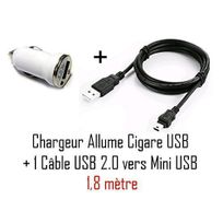 Cabling - pack Chargeur allume-cigare 1,8 m pour Gps avec connecteur mini-USB pour Garmin