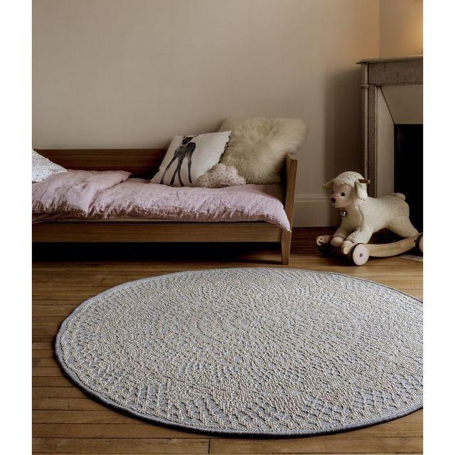 Art For Kids Tapis Crochet rond Gris chambre bebe par - Couleur - Gris, Taille - 135 x 135 cm
