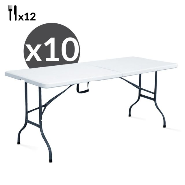 Mobeventpro Tables pliantes 244 cm - Lot de 10