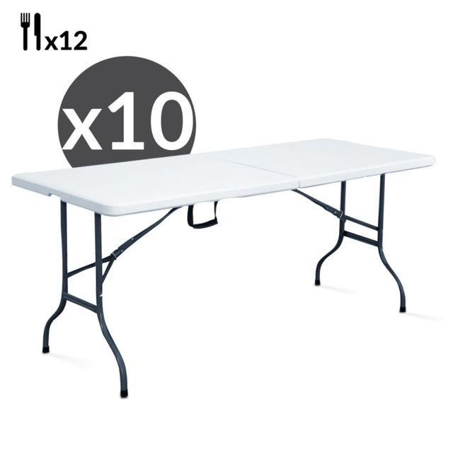 Mobeventpro Tables pliantes 244 cm - Lot de 10