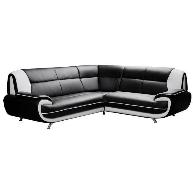 COMFORIUM Canapé d'angle design en simili cuir noir et blanc 5places Nino