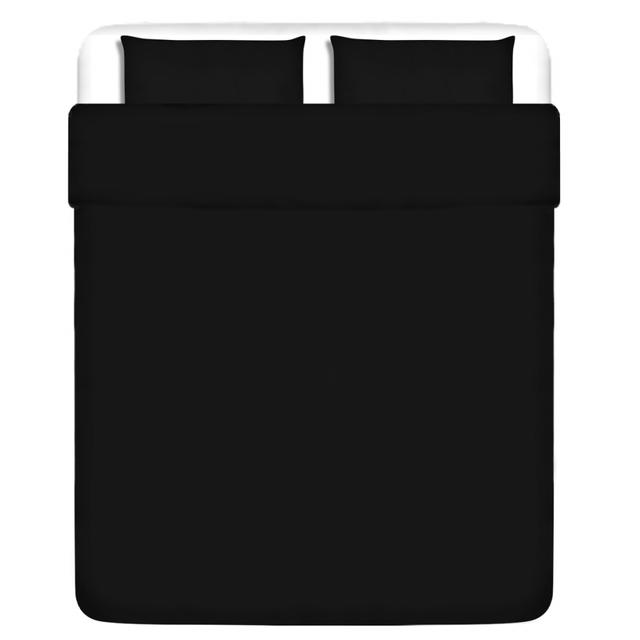 Vidaxl Trois pièces housse de couette en coton noir 200x220/80x80 cm