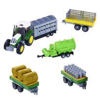 John World - Tracteur vert et accessoires ferme