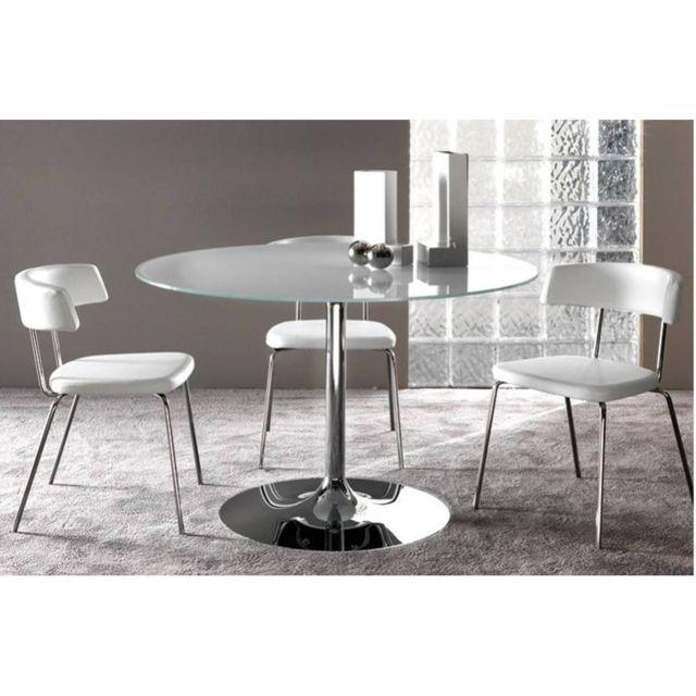Inside 75 Table repas Armony en verre blanc et acier chromé diamètre 120 cm