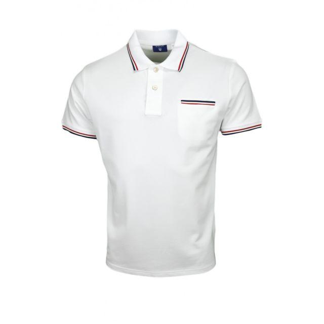 Gant - Polo Tipping blanc pour homme - pas