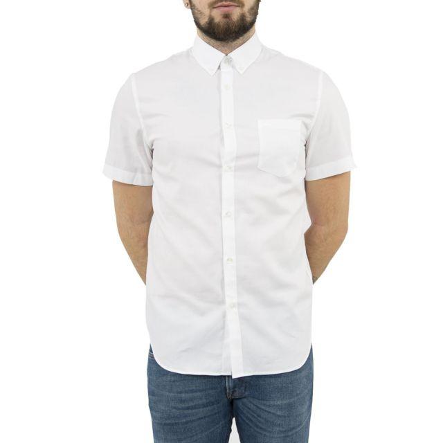 lacoste chemise manches courtes ch1172 blanc 40 pas. Black Bedroom Furniture Sets. Home Design Ideas