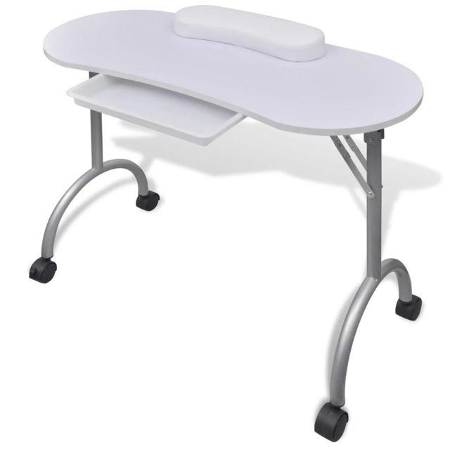 Vidaxl Table de manucure pliante blanche avec roulettes | Blanc