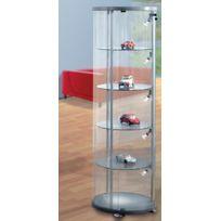 Kerkmann - Vitrine exposition en verre - colonne ronde - H 1.800 - verre et aluminium
