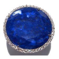 Fantzi - Bague en argent rhodié avec lapis lazuli et oxydes de zirconium