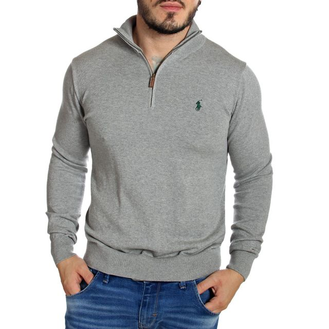 20aa5cfc6590 Ralph Lauren - Pull homme small pony col zip gris chiné - pas cher Achat    Vente Gilet homme - RueDuCommerce