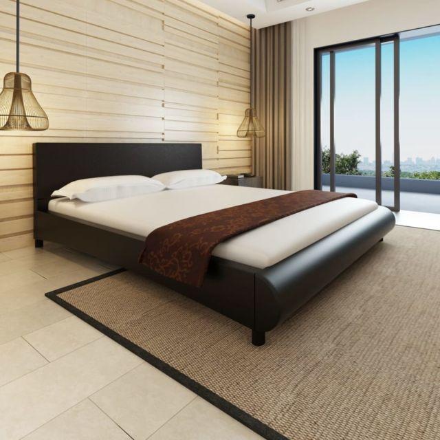 Sans Marque Lit en cuir artificiel noir design courbé 180 x 200 cm