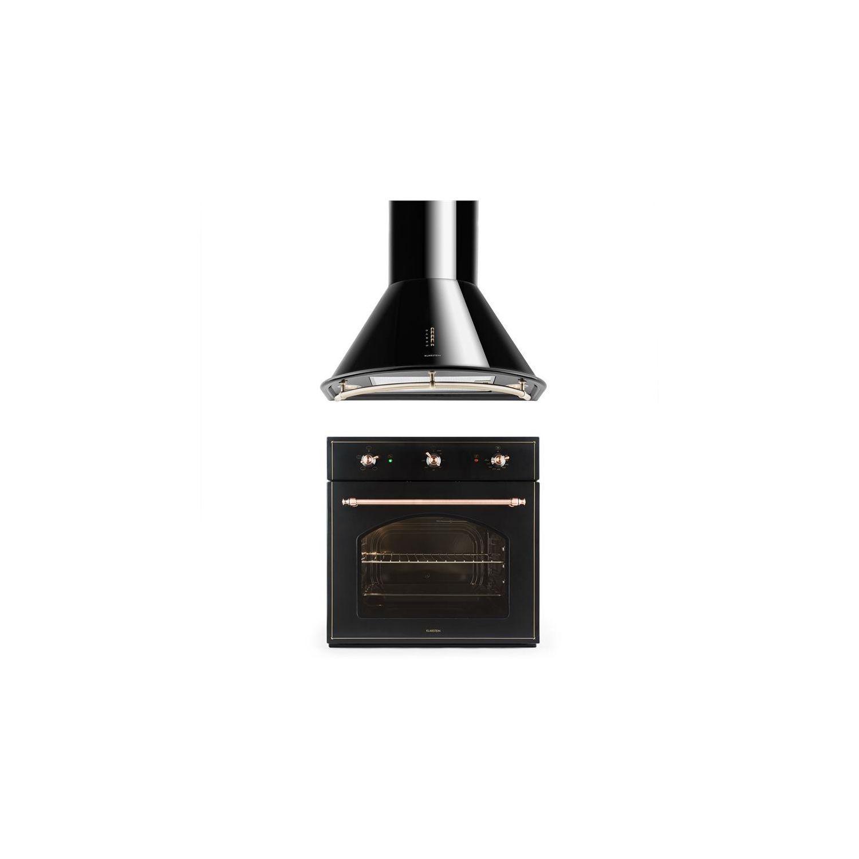 KLARSTEIN  Set Vilhelmine U0026 Noir Prima Four Encastrable U0026 Hotte Aspirante   Noir
